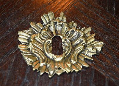 One Antique French Escutcheon Bronze Sunburst Keyhole