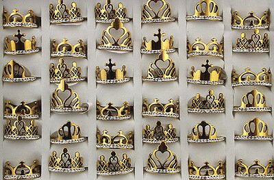 New 26PCS Mix Crown Design Stainless steel Rhinestone Gold P Personality Rings
