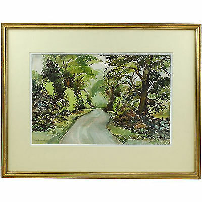 Signed Original Impressionist Watercolour Landscape Painting Redwhen Lane Summer
