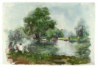 Signed Unframed 1970 May Bumps Picnic Cam Cambridge Watercolor Painting Harrison