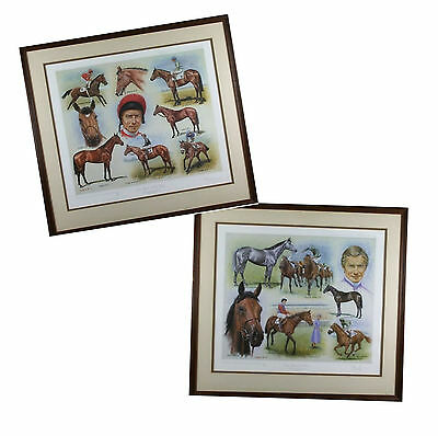Pair Original Lester Piggott Ltd Ed Prints Oaks Ledgers Winners Peter Deighan