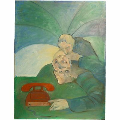 Original Cool Brittania Surrealist Acrylic Painting Telephone Portrait Shelley