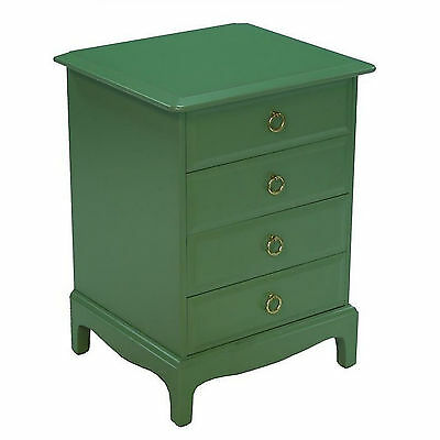 Painted 1980s Vintage Stag Minstrel Georgian Green Bedroom Chest of Drawers