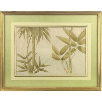 Early C19th Cantonese Botanical Study Bamboo Watercolour on Rice Paper Framed