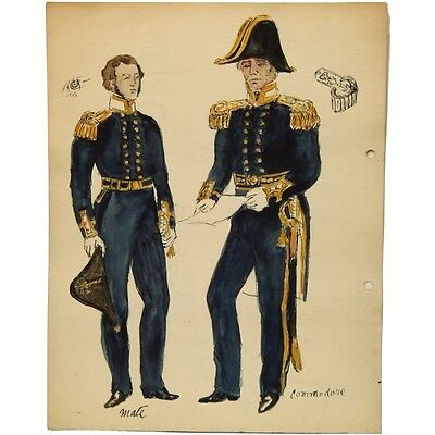 Original Unframed HMS Blazer Crew Commodore Royal Naval Maritime Uniforms Sketch