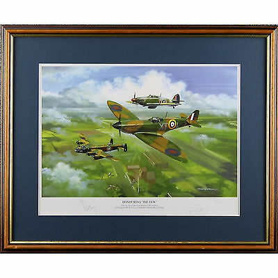 Signed Ltd Ed WW2 RAF Battle of Britain Spitfire Print Honouring The Few O'Brien