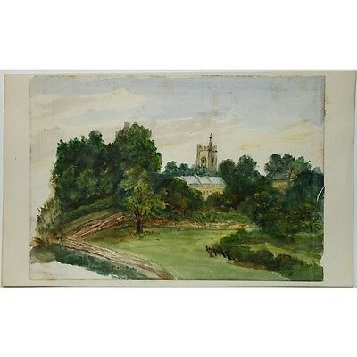 J Morgan Traditional Village Church Landscape Bristol c1810 Watercolour Painting
