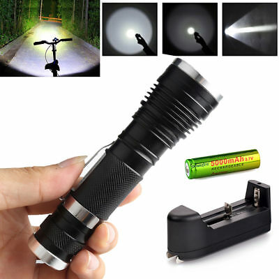 Police Tactical XM-L T6 10000LM Rechargeable LED Flashlight+Battery+Charger