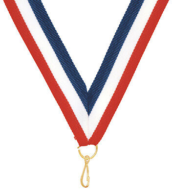 """LOT of 100 Ribbons 7/8 x 32"""" Red, White, Blue Neck Ribbon Lanyard w/Snap Clip"""