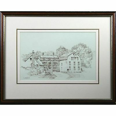 Framed Original Farningham Mill Kent Pen Ink Drawing Sketch Signed Letchford