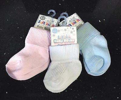 Baby Boys Cotton Rich Socks Blue or White Newborn / 0-3 Months