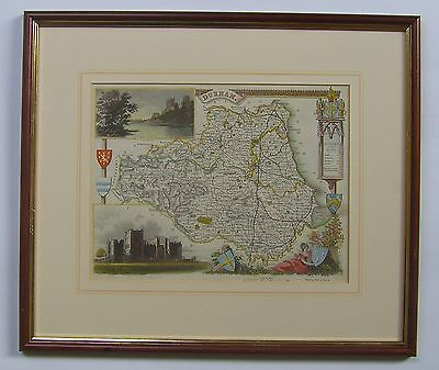 Durham: antique map by Thomas Moule, c1836