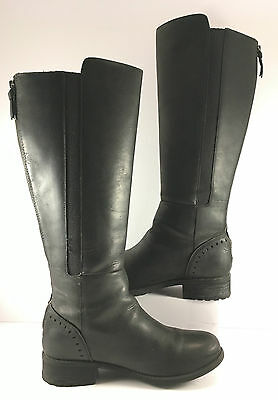 UGG Australia Black Leather Vinson Knee High Boots Womens Size US 9M