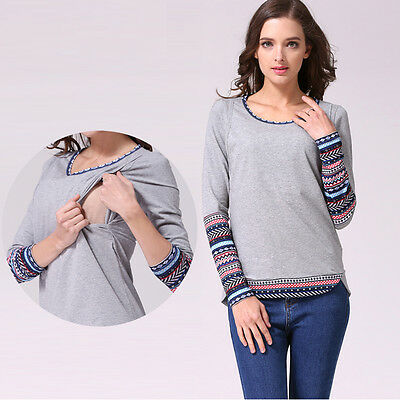 New Patchwork Long Sleeve Maternity Clothes Nursing Tops Breastfeeding T-shirt