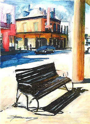 SIGNED Hand Drawn and Painted Art FRENCH QUARTER and JACKSON SQUARE NEW ORLEANS