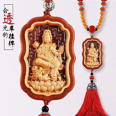 Hollow-cut inlay Wood Carving Chinese Kwan Yin Ride Dragon Sculpture Car Pendant