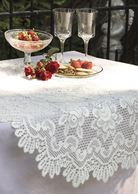 """Heritage Lace ROSE 30"""" Round Off White Table Topper"""