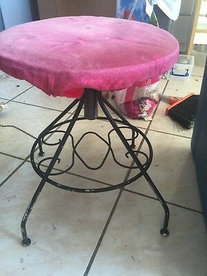 Vintage Vanity Chair Wrought Iron Velvet Swivel & Adjustable A Pacso Original