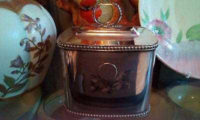 Georgian  George ii silver plated ? tea caddy with set coins/tokens.
