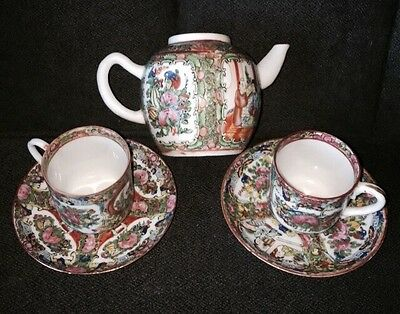 Antique Chinese Porcelain Rose Famille Small Teapot 2 Cups/Saucers Late 1800's