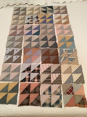 28 Quilt Pieces, Vintage  (Very Old - Recycled Cotton Clothing)