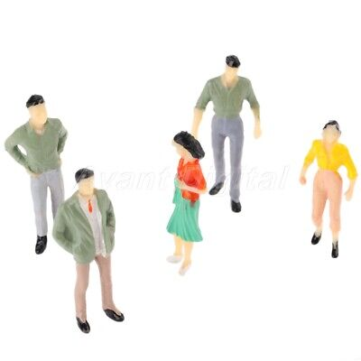 100x Multicolor Painted Model Railway Passengers Train Scenery Layout 1:75 Scale