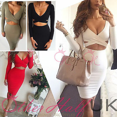 UK Womens Bodycon Cocktail Bandage Dress Ladies Party Evening Dress Size 6-14