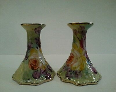 Vintage Limoges Hand Painted Candle Holders Candlestick Holders