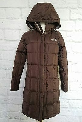 NORTH FACE Brown Quilted Puffer Long Goose Down Parka Hooded Coat Jacket S