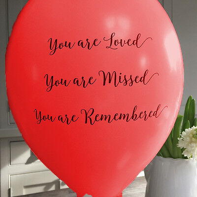 10 Red  'You Are Loved' Funeral Remembrance Condolence Balloons