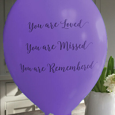 10 Purple 'You Are Loved' Funeral Remembrance Condolence Balloons