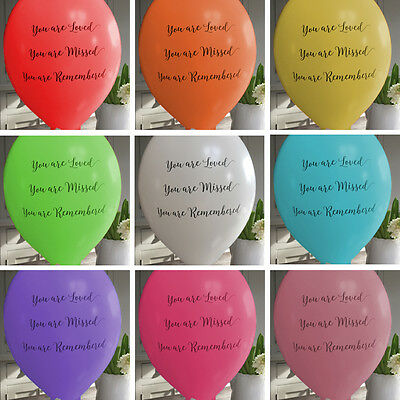 10 Rainbow 'You Are Loved' Biodegradable Funeral Remembrance Condolence Balloons
