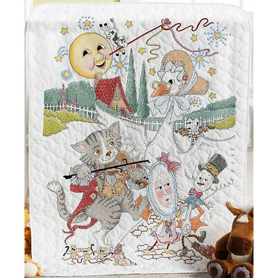 """Classic Mother Goose Crib Cover Stamped Cross Stitch Kit-34""""X43"""" 46373"""
