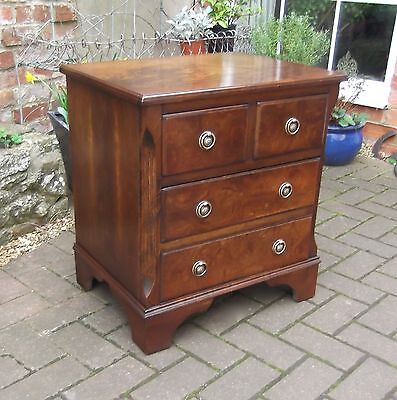 Small Good Quality Chest Of Four Drawers~Figured Woods~Bedside Table~Lamp Stand