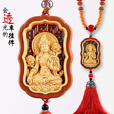 Hollow-cut inlay Wood Carving Tibetan Green Tara Kwan Yin Sculpture Car Pendant