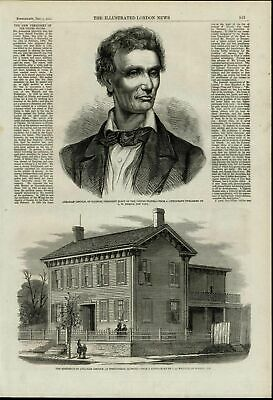 Abraham Lincoln Portrait Residence House nice wonderful 1860 unusual old print