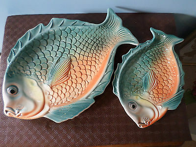 Pair of large, vintage, brightly coloured, pottery Fish / Serving Platters