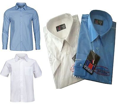 Boys School Shirt Sky Blue or White Long or Short sleeve NEW PolyCotton Shirts