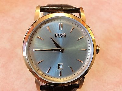 Boss Hugo Watch Men's Silver and Rose Gold Dial  Brown Leather  Strap  New