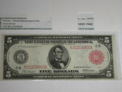 1914 $5 Federal Reserve Note. New York branch.  Red Seal type.