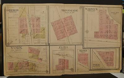North Dakota Benson County Map Oberon Brinsmade Warwick 1910 Double Page  L7#60