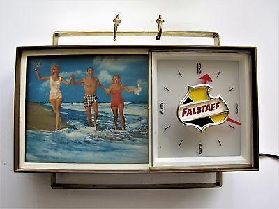 Vintage Falstaff Beer Lighted Electric Advertising Clock w/ Rotating Pictures