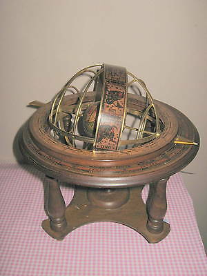 Vintage Old World Spinning Astrology Globe Wood Made in Italy By Himark