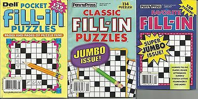 Lot of 3 New Pocket Fill-In Puzzle Magazines May & June 2017