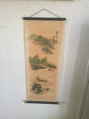 Vintage Chinese Watercolor Scroll . Signed