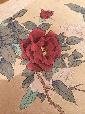 Vintage Chinese Oriental  Silk Painting / Floral Picture  Signed