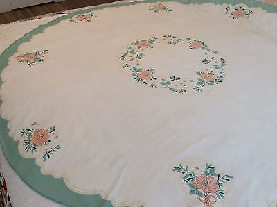 "Vintage Cotton Tablecloth And 6 Matching Napkins - 70"" Round Floral - Beautiful!"