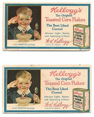 2 Vintage Advertising Blotter Cards Kellogg's Toasted Corn Flakes Cereal