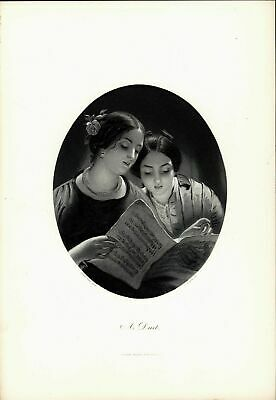 A Duet Portrait Young Women Sheet Music nice c.1880 large antique engraved print