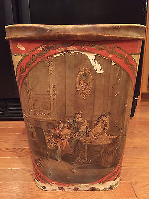 Antique Wrapped Leather Garbage Trash Can Waste Basket w/ Wood Bottom